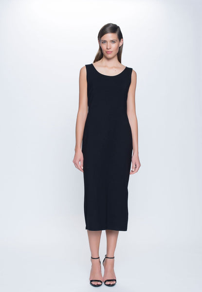 Maxi Dress with High Side Slit in black by picadilly canada