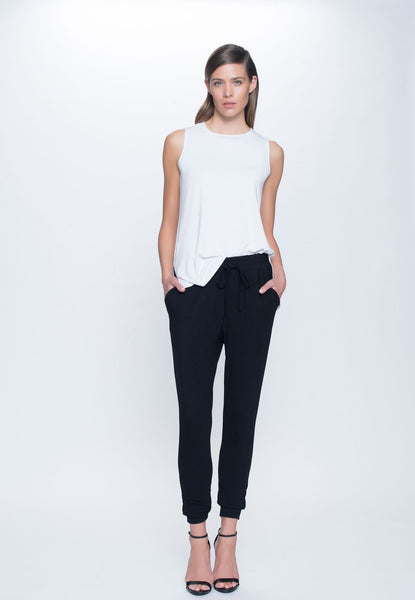 front view Drawstring Pant in black by Picadilly canada