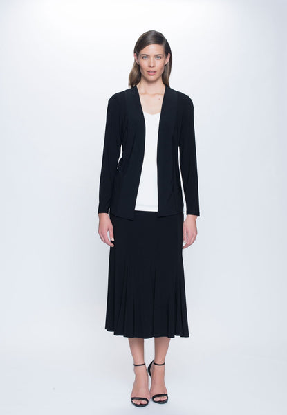 outfit featuring Long Open Front Jacket in black by picadilly canada