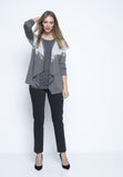 outfit featuring the Pull-On Straight Leg Pant in grey by Picadilly Canada