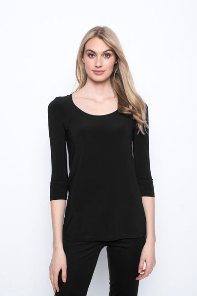 3/4 Sleeve Round Neck Top in black by Picadilly canada