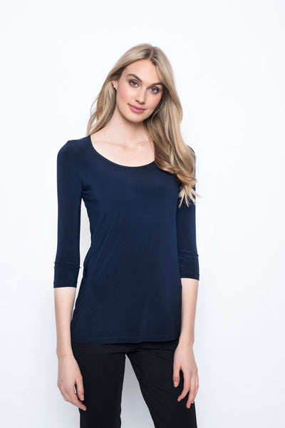 3/4 Sleeve Round Neck Top in navy by Picadilly canada