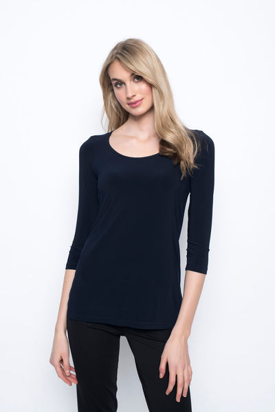 3/4 Sleeve Round Neck Top in deep navy by Picadilly canada