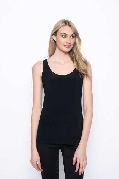 Scoop Neck Tank in black by Picadilly canada