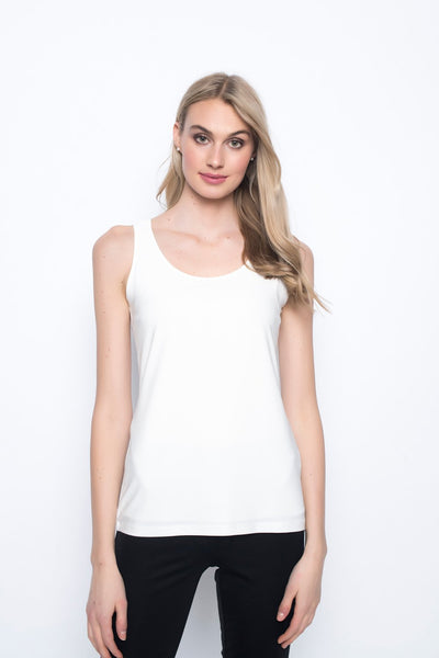Scoop Neck Tank in white by Picadilly canada