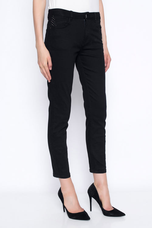 ankle length denim pants in black