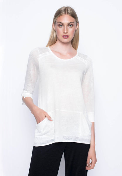 ¾ Sleeve Top With Pockets