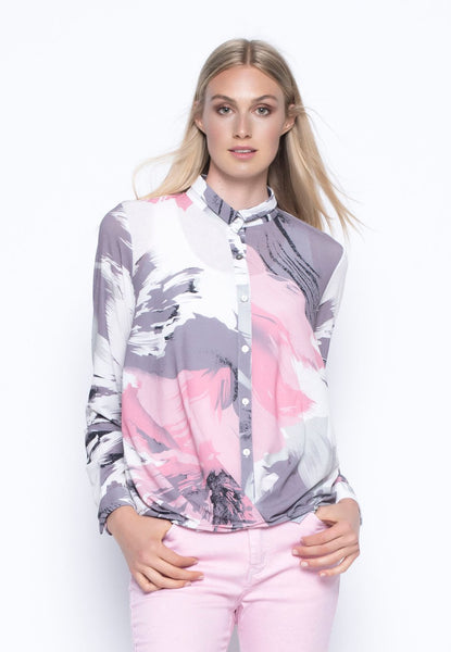 Long Sleeve Crossover Blouse