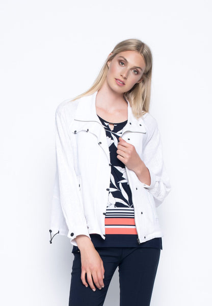 Lace Trimmed Zip-Front Jacket