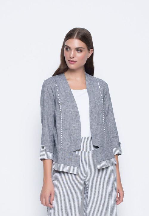 ¾ Sleeve Stripe Trimmed Jacket