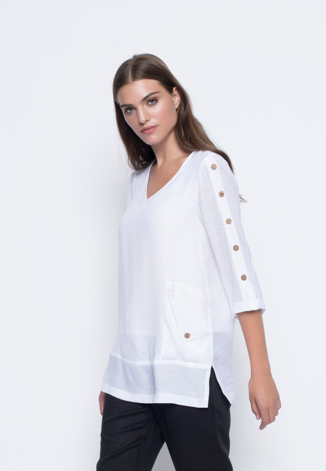 Loose Sleeve Top With Button Detail