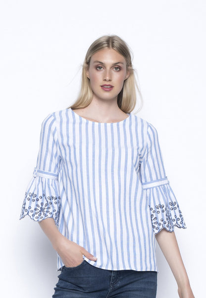 Embellished Ruffle Sleeve Stripe Top