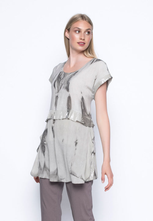 Sequin Trimmed Frilled Tunic
