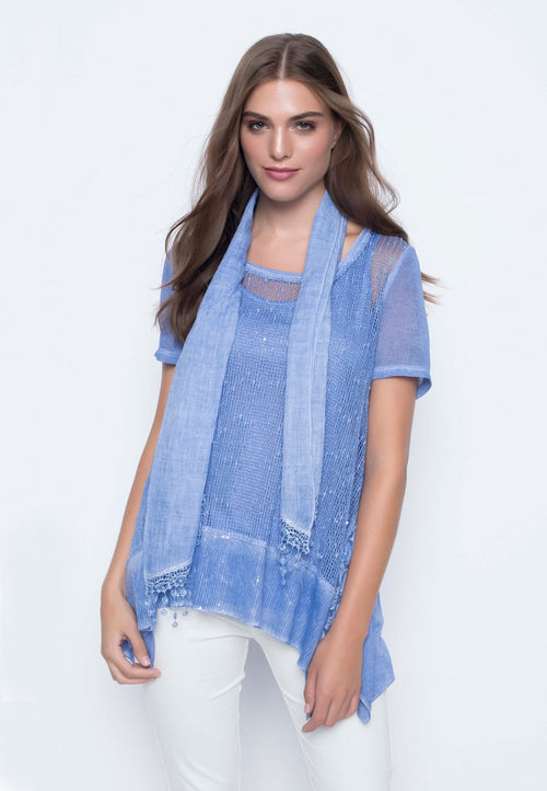 Short Sleeve Fabric Combo Tunic With Matching Scarf