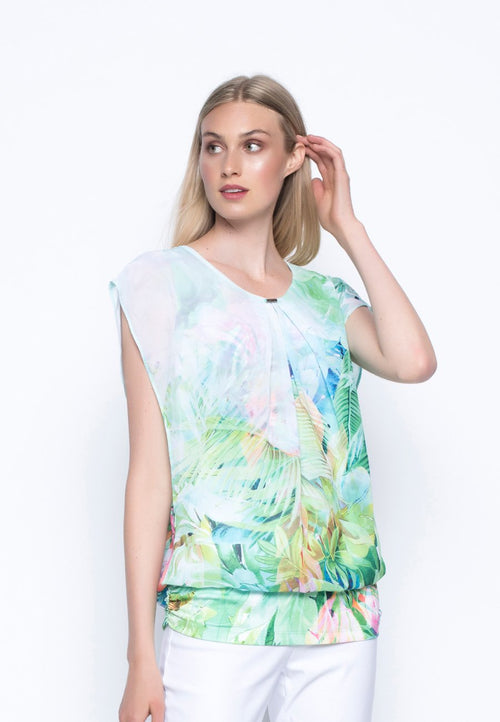 Chiffon Overlay Top With Side Ruching