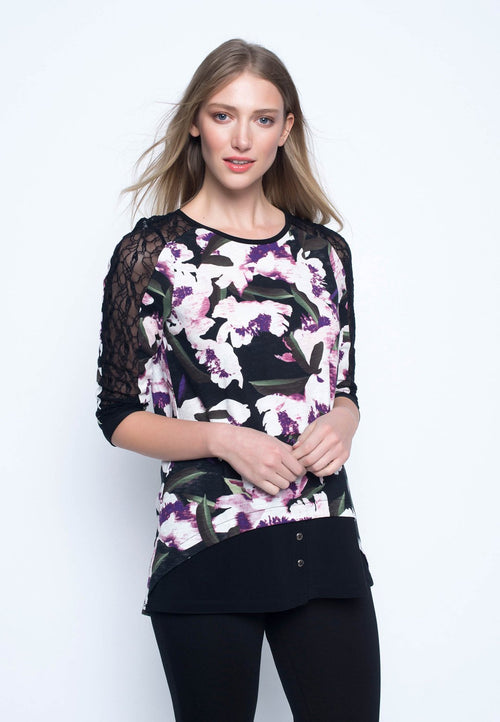 Lace-Trimmed ¾ Sleeve Top