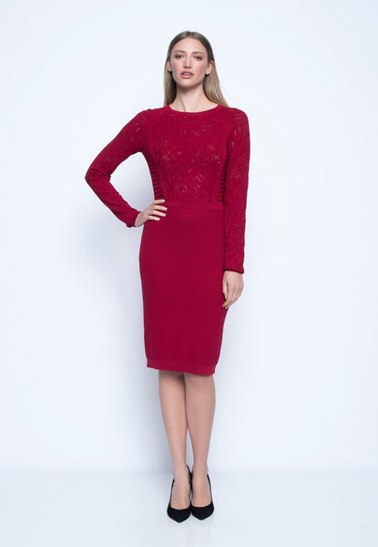 Long Sleeved Knitted Jacquard Dress