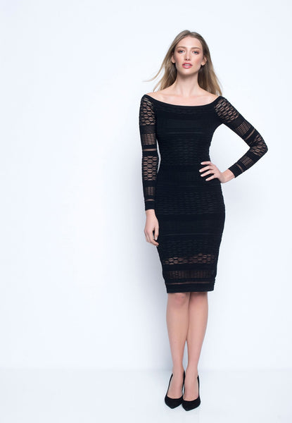 Raglan Sleeve Textured Knit Dress