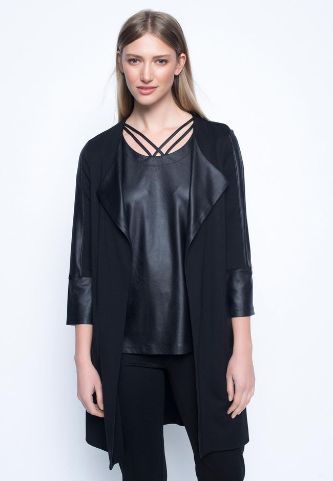 Contrast-Trimmed Open-Front Jacket With Curved Hem