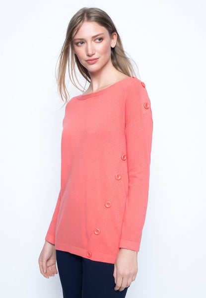 Button Trimmed Drop Shoulder Sweater Top