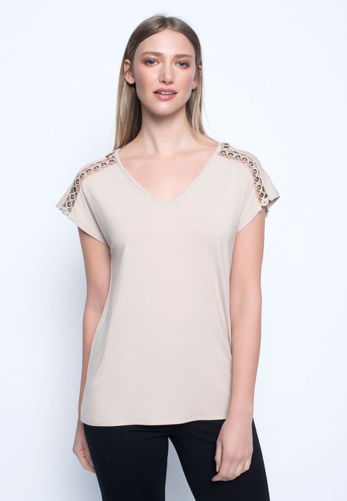 Embellished V-Neck Top