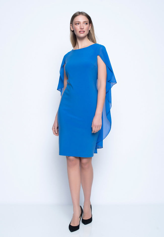 Chiffon Cape Sheath Dress