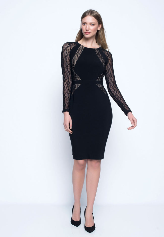 Lace-Trimmed Long Sleeve Dress