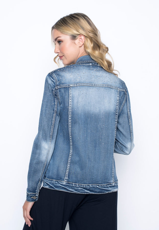 back view of the Rhinestone Embellished Denim Jacket  by picadilly canada