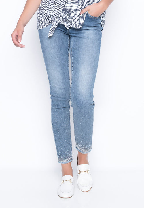 Rhinestone and Embroidered Denim Jeans by picadilly canada