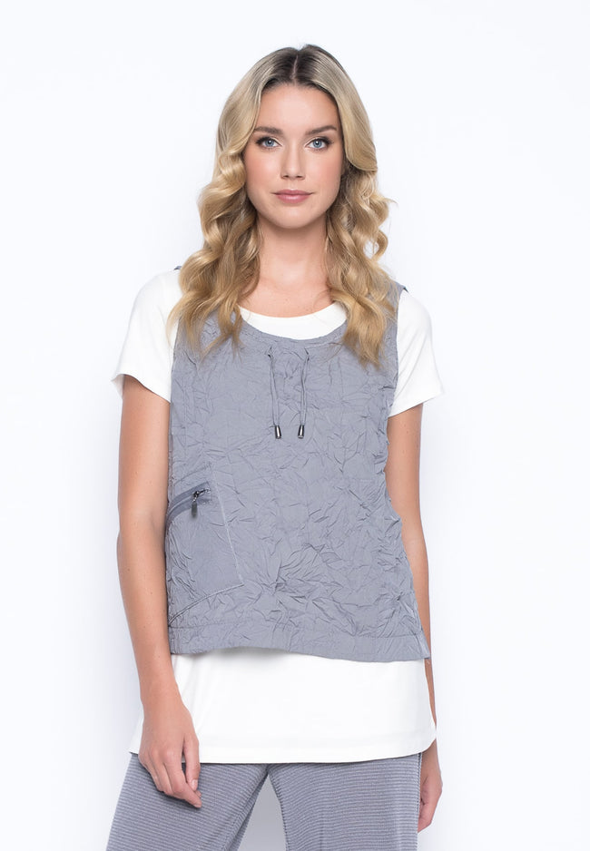 1-Pocket Tank With Drawstrings in pebble grey by Picadilly Canada