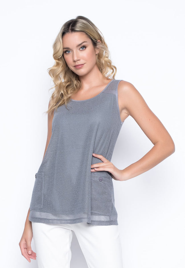 Tank With Pockets in grey by Picadilly Canada