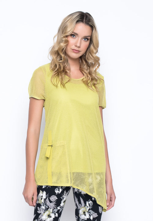 Short Sleeve Asymmetric Hem Top in key lime by Picadilly Canada
