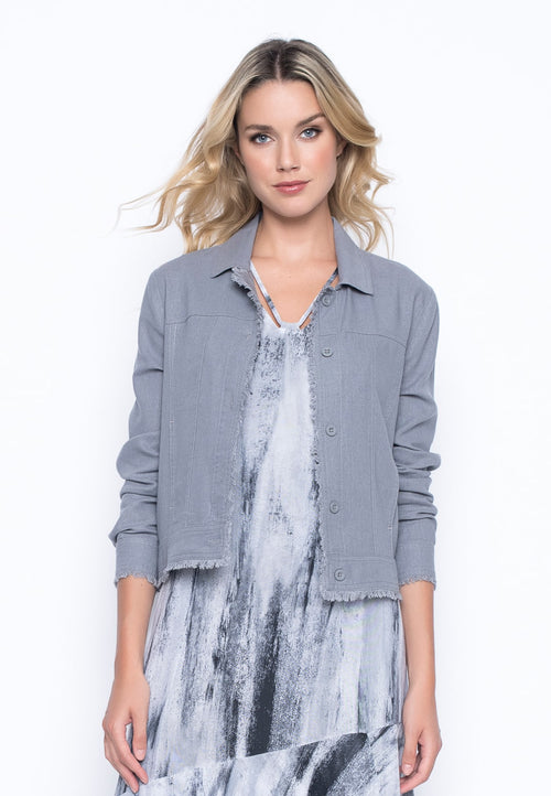 Button Front Jacket in grey by Picadilly Canada