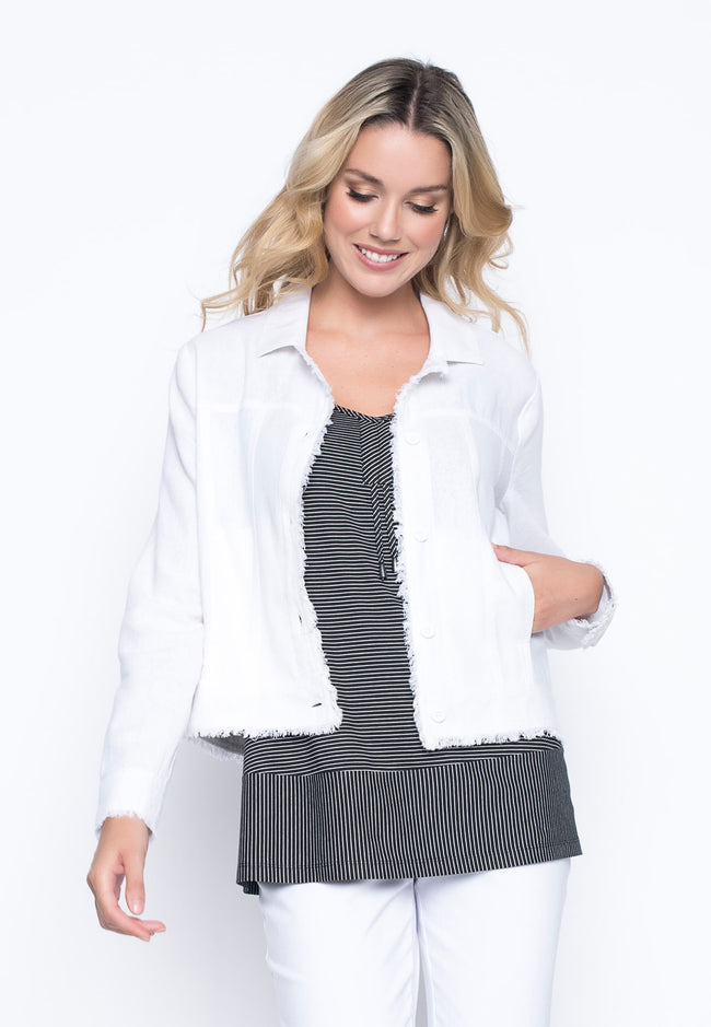 Button Front Jacket in white by Picadilly Canada