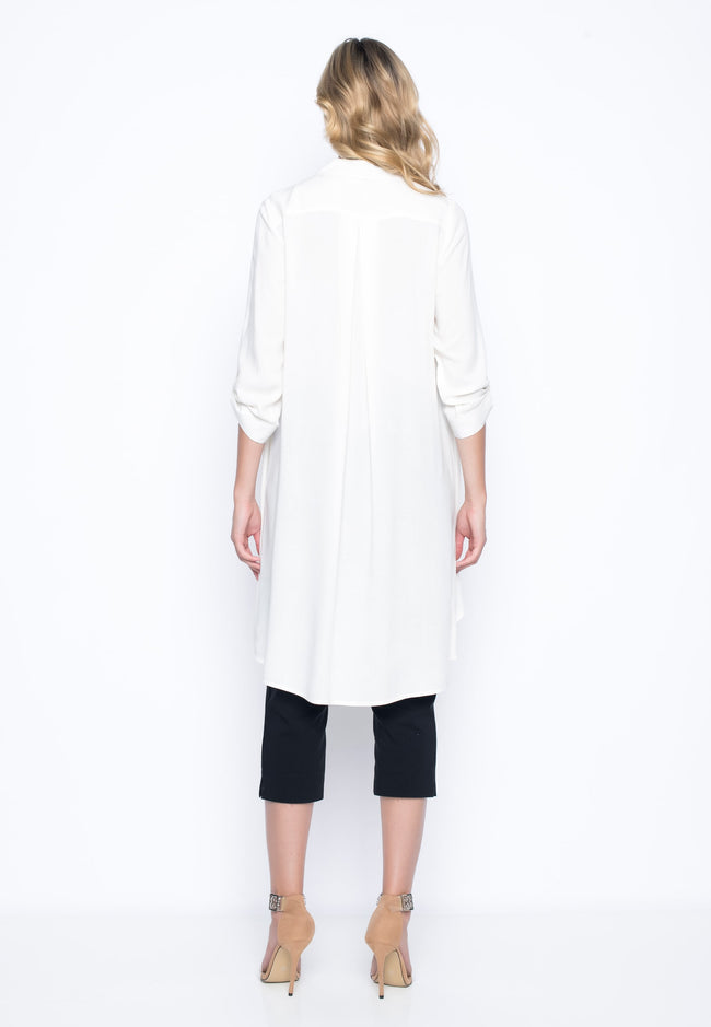 back view of the ¾ Sleeve Overlapping Shirt by picadilly canada