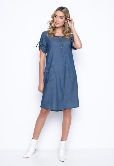 Long Sleeve Pleated Neckline Dress