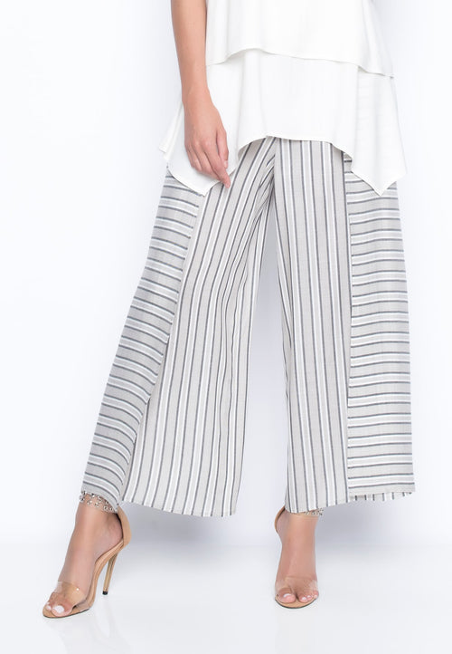 Stripe Flowy Wrap Front Pants by Picadilly Canada