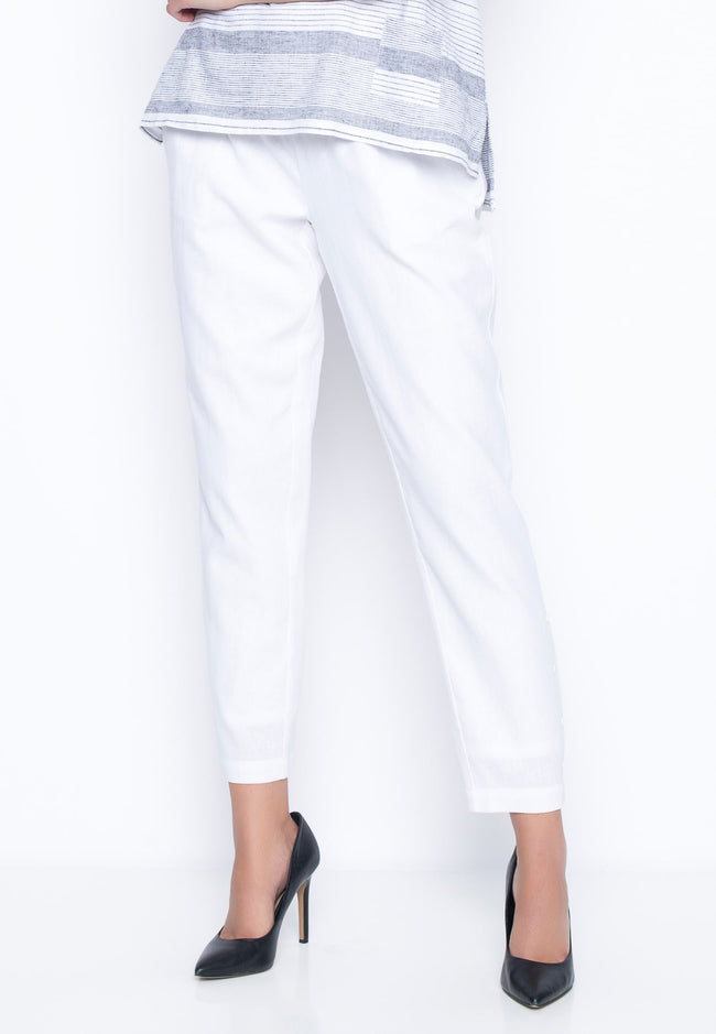Pull-On Slim Pants With Buttons in white by Picadilly Canada