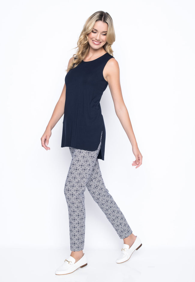 outfit featuring the Tile Printed Ankle Length Pants with Slits by picadilly Canada