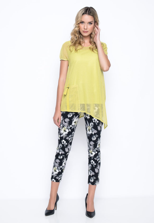 outfit featurng the Dark Floral Ankle Length Pants With Slits by Picadilly Canada