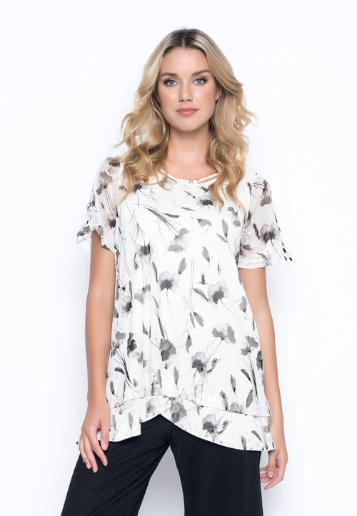 Wildflower Tape Trim Short Sleeve Top by Picadilly Canada