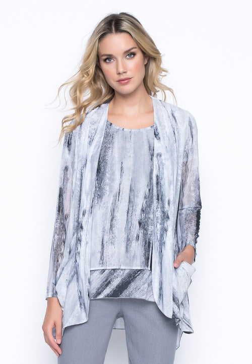 Open Front Jacket With Draped Pockets by Picadilly Canada