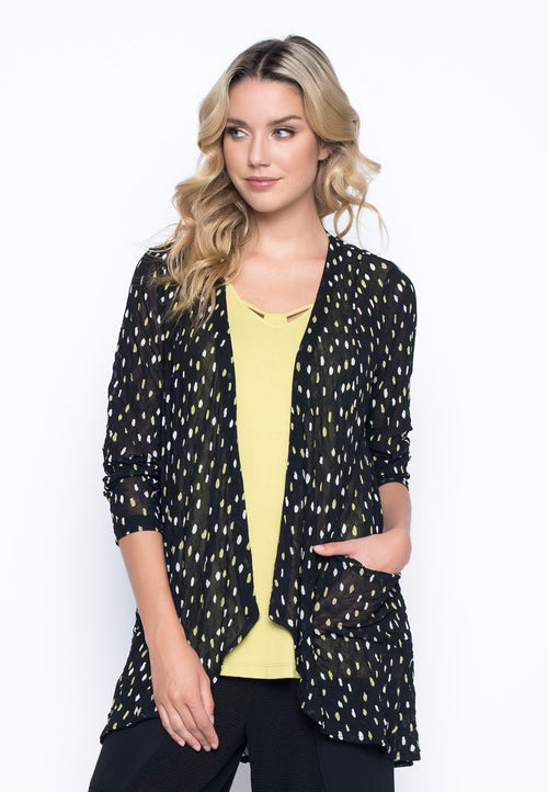 Ruffle Open Front Jacket With Pockets by Picadilly Canada