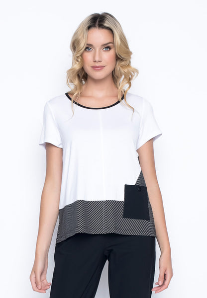 Short Sleeve Top With Pocket in white by Picadilly Canada