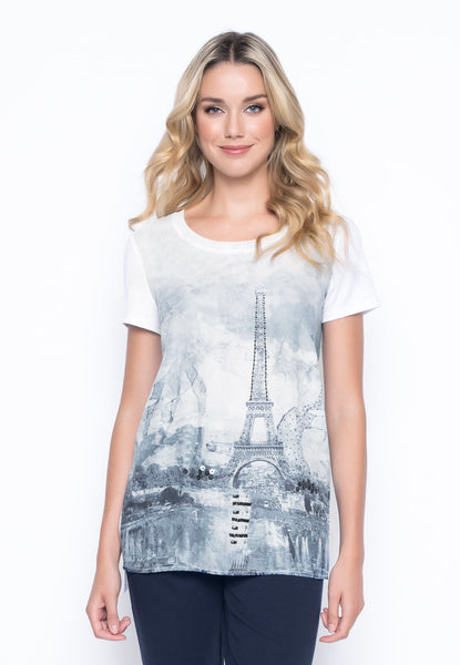 Embellished Custom Paris Print Tee with Side Slits by picadilly canada