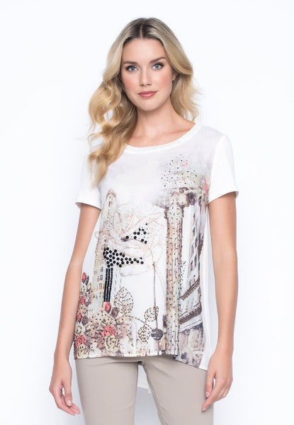 Embellished Custom Print Tee With Side Slits by picadilly canada