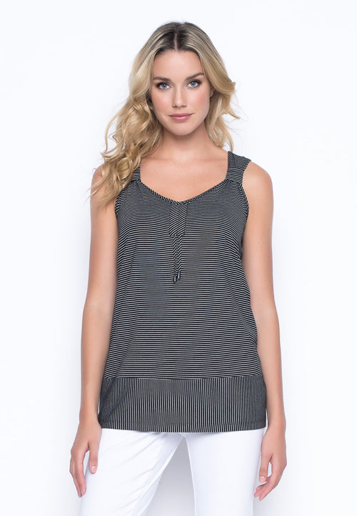 V-Neck Drawstring Tank in black/white by Picadilly Canada