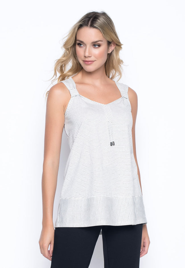 V-Neck Drawstring Tank in grey/white by Picadilly Canada