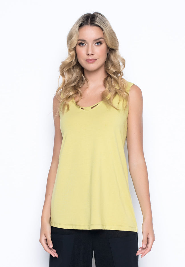 V-Neck Tank with Neckline Detail in keylime by picadilly canada