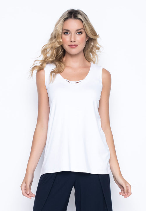 V-Neck Tank with Neckline Detail in white by picadilly canada